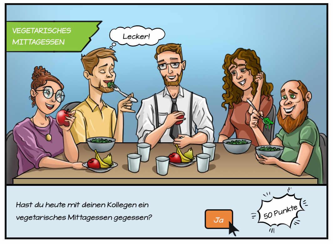Comic: vegetarisches Mittagessen