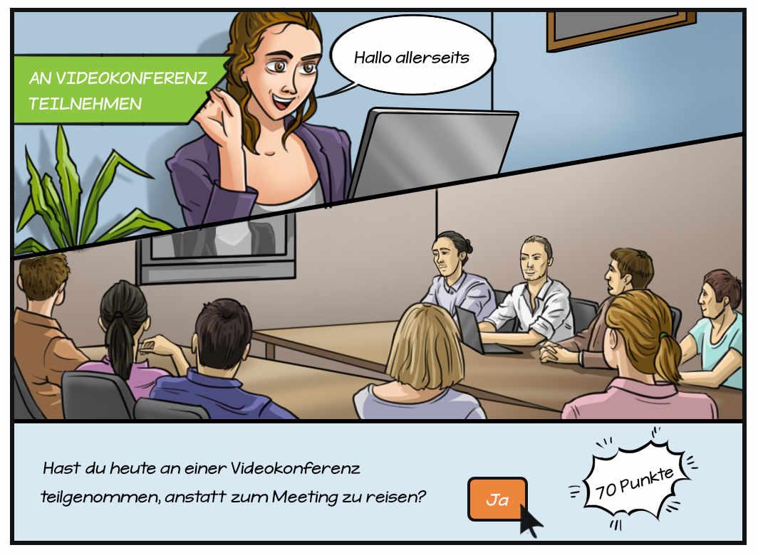 Comic: an Videokonferenz teilnehmen
