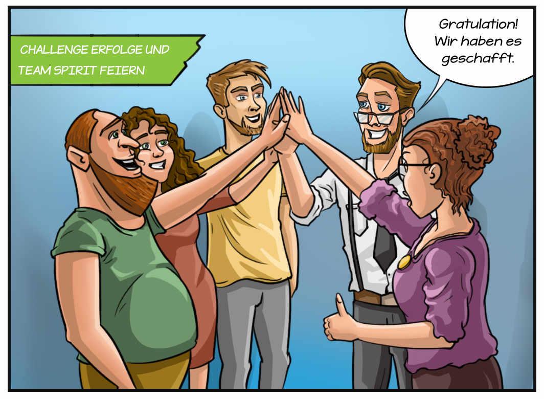 Comic: Challenge Erfolge und Team Spirit feiern